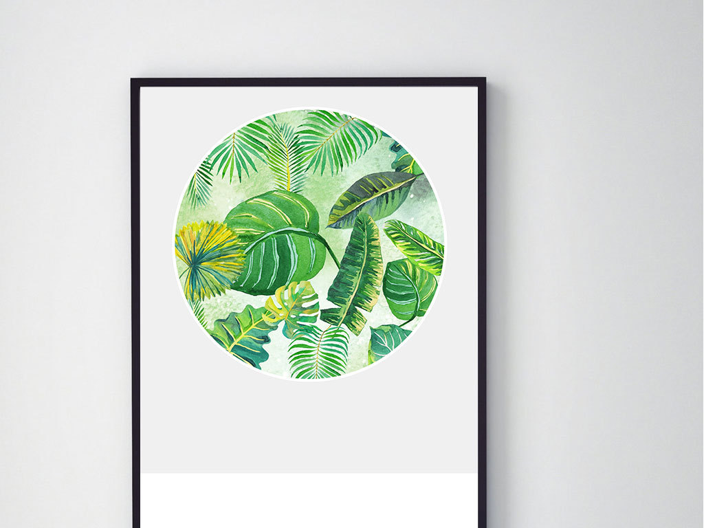 北欧手绘小清新热带树叶装饰画