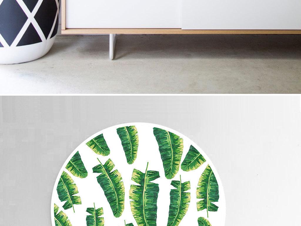 北欧简约小清新手绘绿叶圆形装饰画
