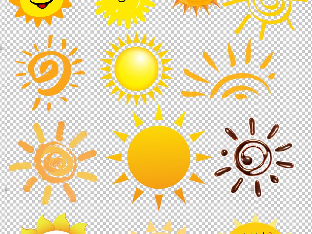 太阳光线太阳光晕手绘太阳笑脸