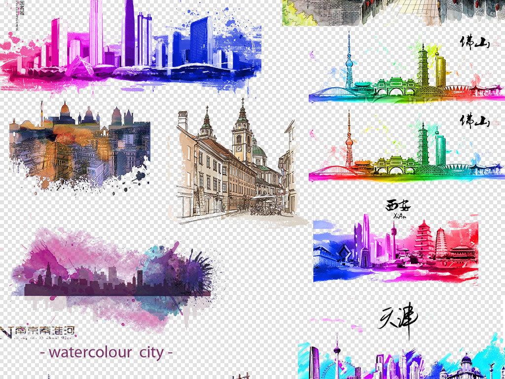 手绘彩墨城市都市建筑建筑速写房子剪影素材