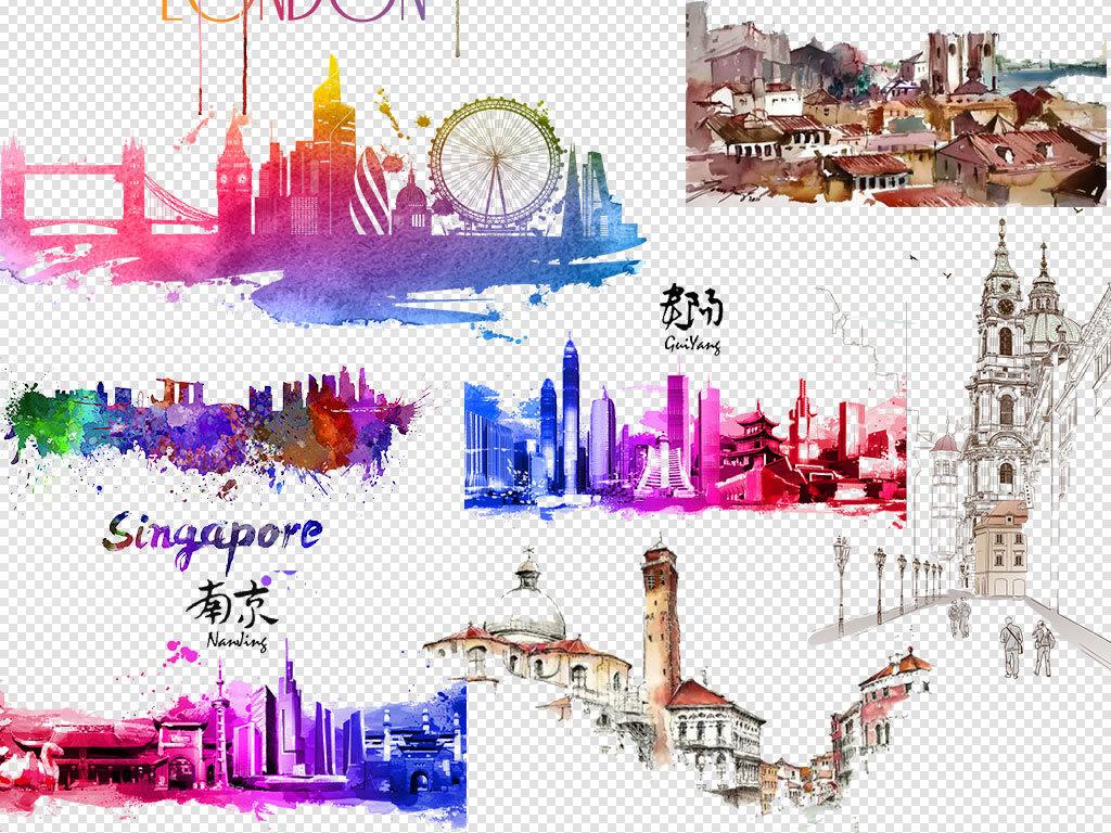 上海楼宇城市剪影剪影素材城市手绘城市风景手绘卡通城市手绘手绘城市