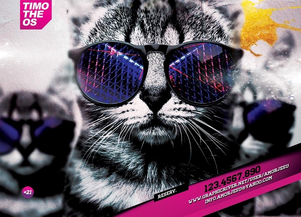 手绘欧美海报背景海报设计水彩创意世界喷溅电音疯狂水彩世界卡通猫