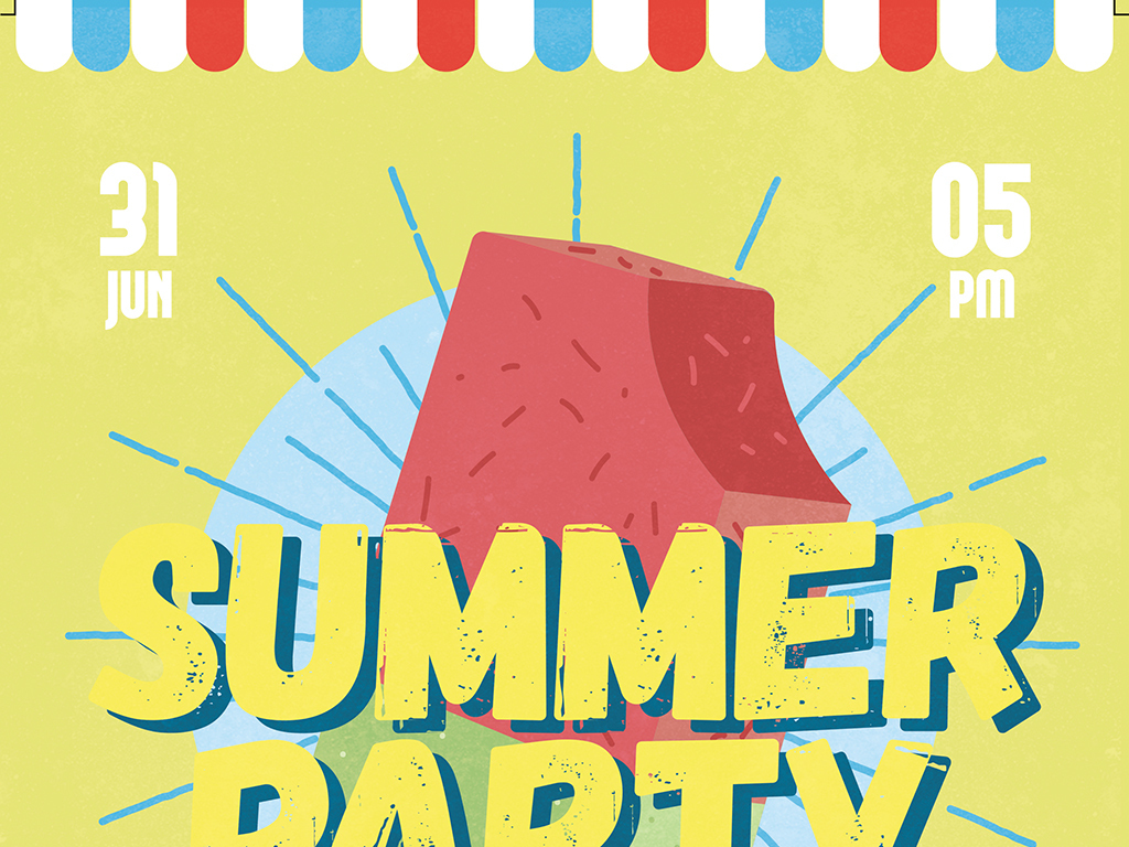 多色系简约手绘夏日冰淇淋派对ps创意海报