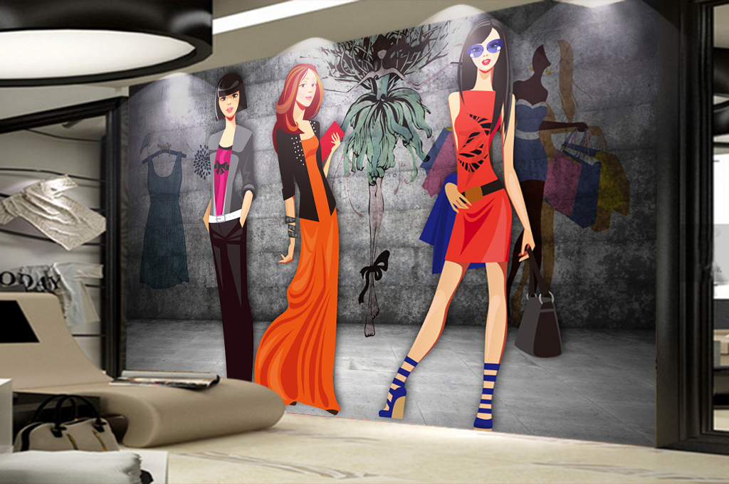 3d墙壁手绘美女服装店商场工装背景墙