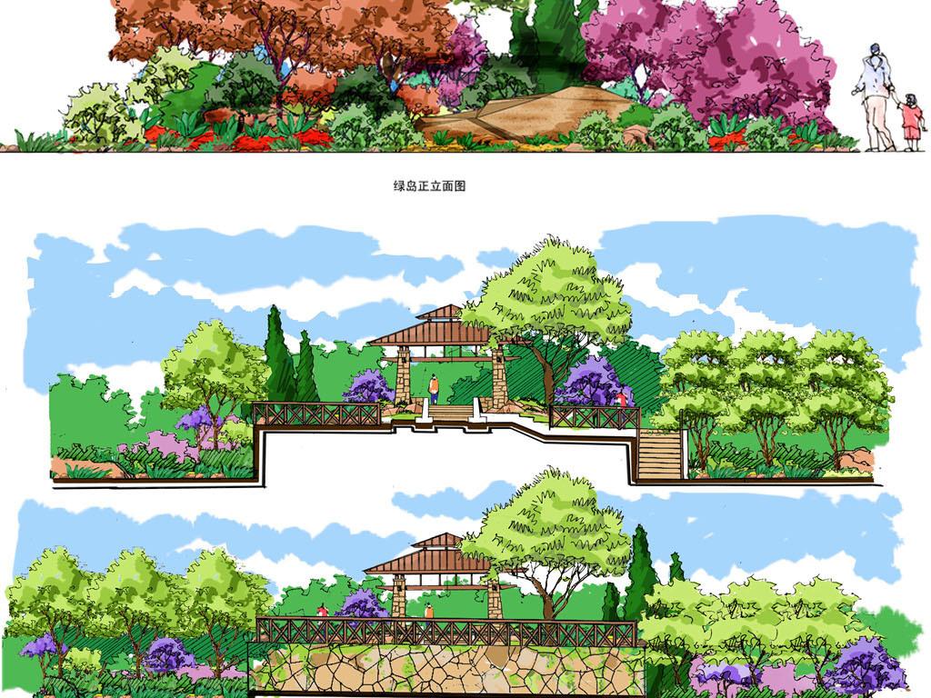 园林景观手绘树立面断面彩图综合psd分层