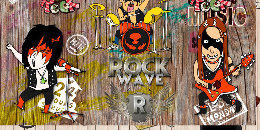 复古怀旧手绘涂鸦摇滚音乐背景墙