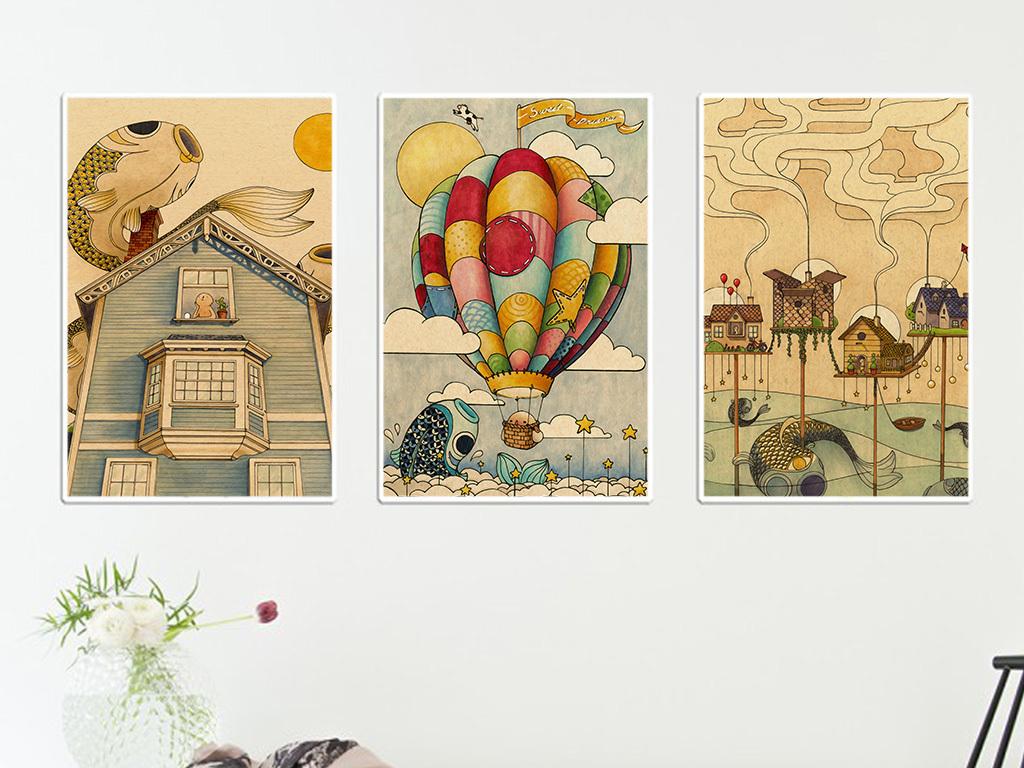 复古手绘热气球图案无框画