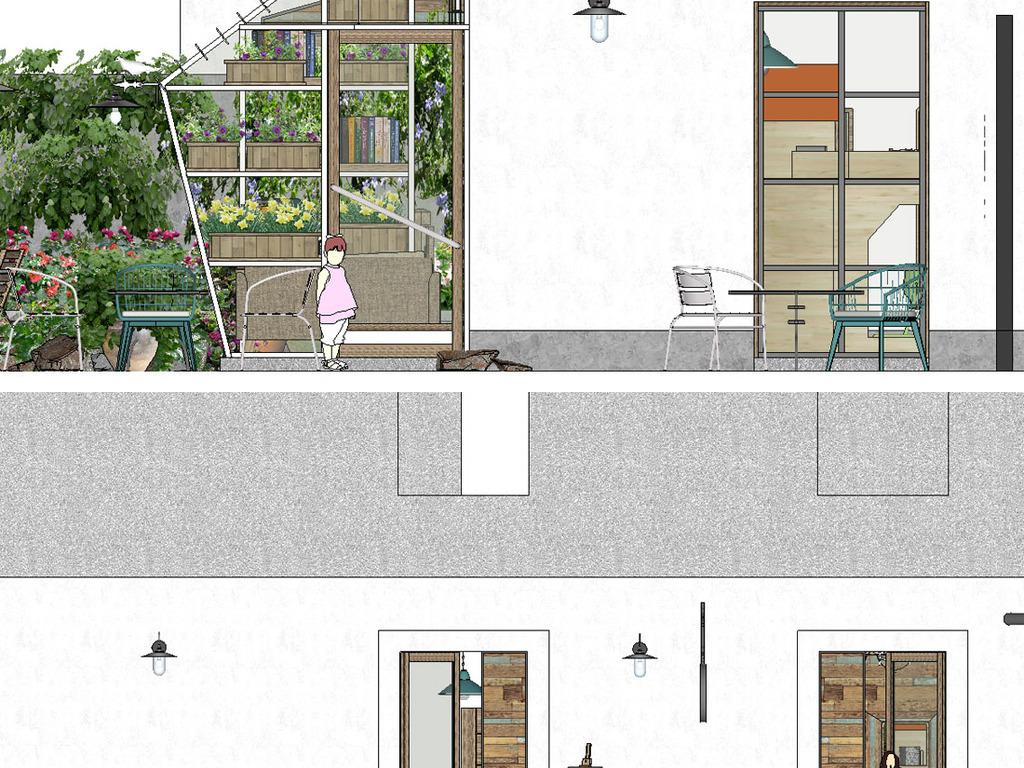 loft花园民宿书吧庭院su模型设计图下载(图片85.93mb)