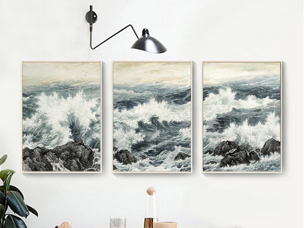 海涛大海浪花海浪手绘艺术中式装饰画无框画