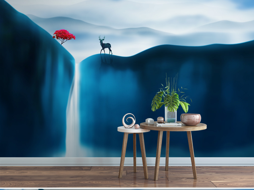背景墙|装饰画 电视背景墙 手绘电视背景墙 > 北欧深色麋鹿抽象意境