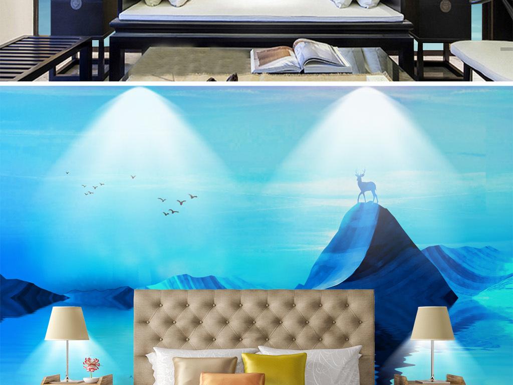 画 电视背景墙 中式电视背景墙 > 禅意新中式水墨山水麋鹿淡蓝背景墙图片