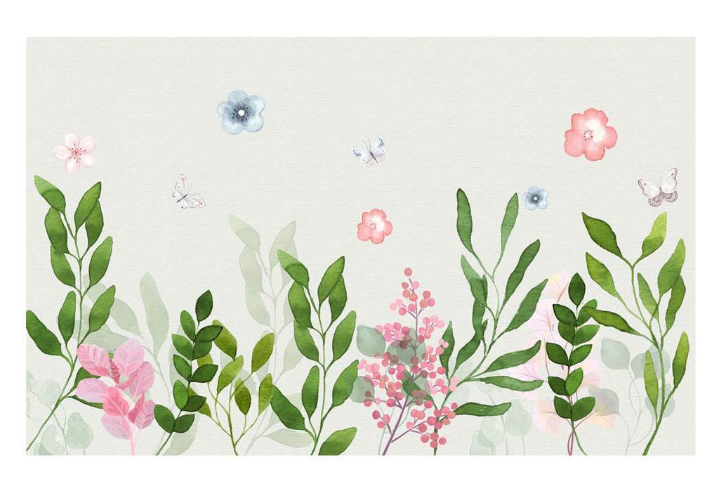欧美简约手绘水彩树叶花朵装饰画背景墙