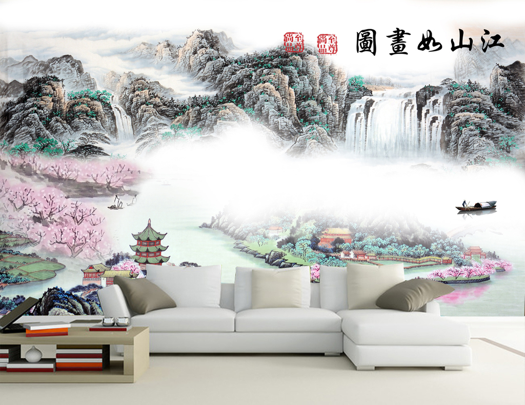 新中式江山如画水墨山水画中式背景墙抽象水墨图片