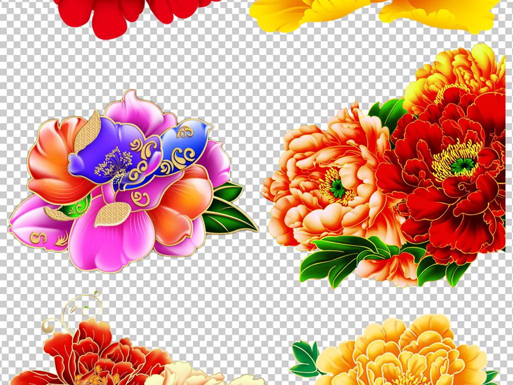 花开富贵手绘中国风牡丹花png设计素材