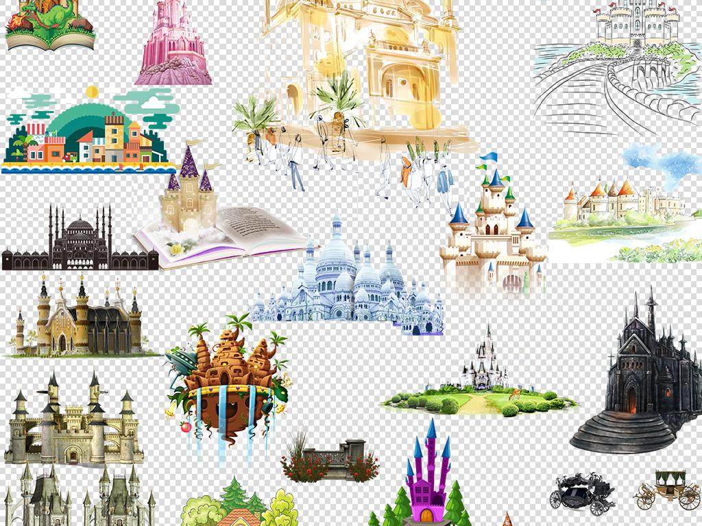 卡通手绘城市手绘城堡图片png免扣素材
