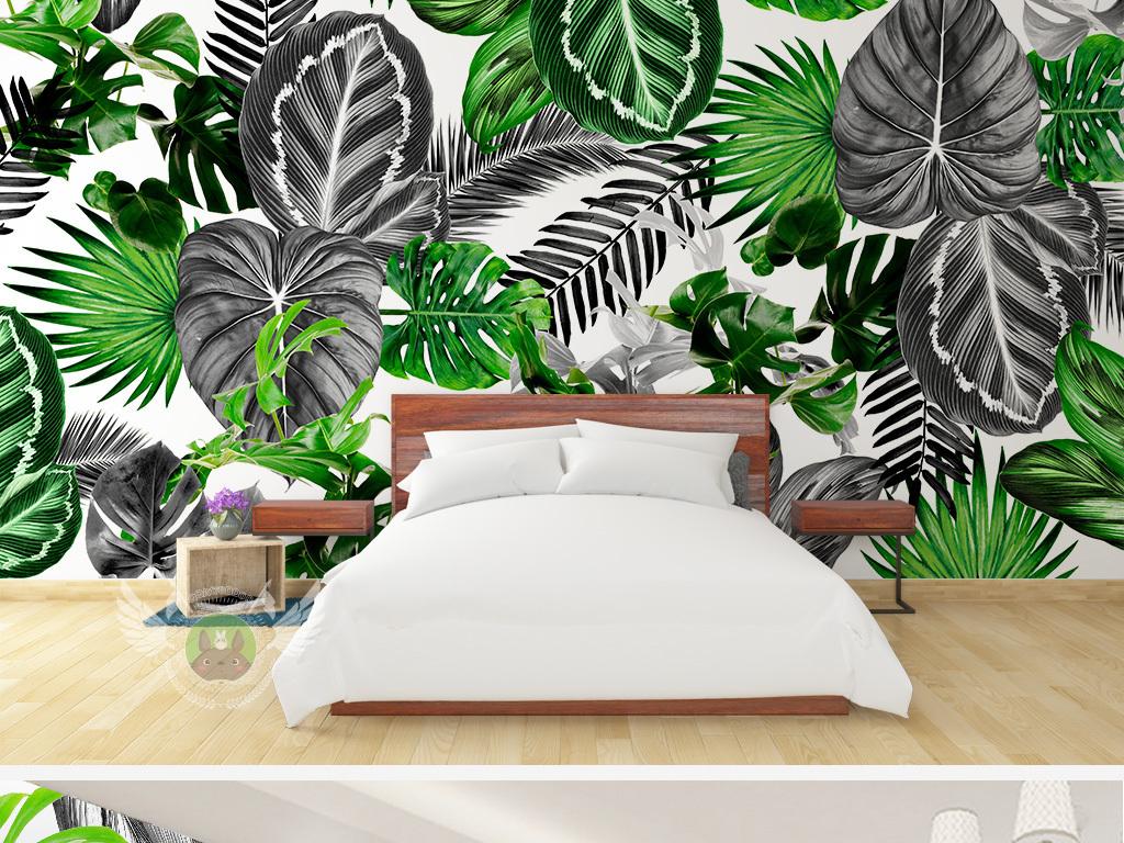 背景墙 电视背景墙 手绘电视背景墙 > 北欧简约黑白热带植物龟背叶子
