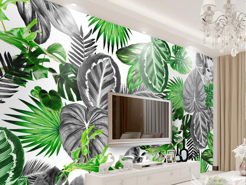 背景墙|装饰画 电视背景墙 手绘电视背景墙 > 北欧简约黑白热带植物