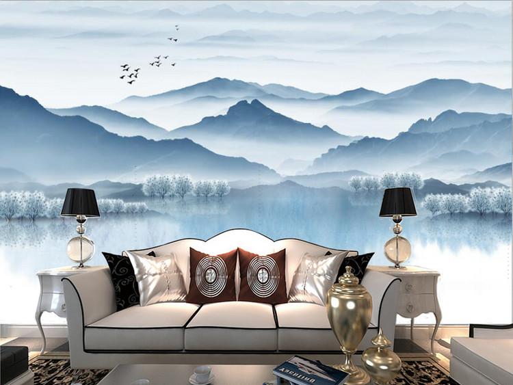 新中式青花山水风景国画电视背景墙