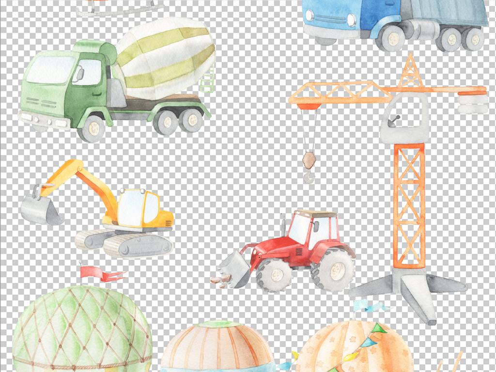 淡彩手绘水彩玩具热气球飞机汽车免抠素材