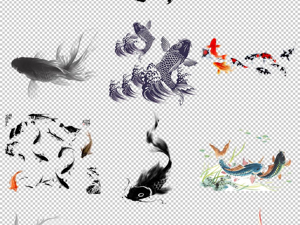 中国风水墨鱼手绘锦鲤免扣背景图片