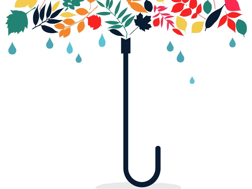 卡通色图花纹彩色花花藤花框小花矢量花角花伞花伞面