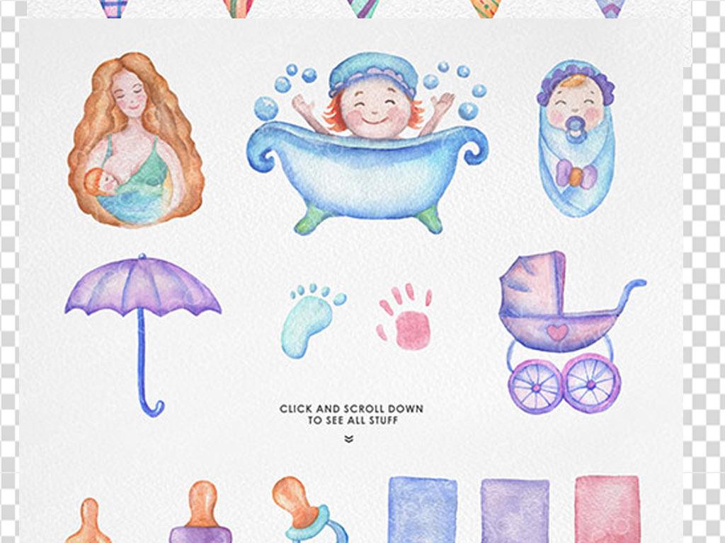 母婴手绘图片唯美