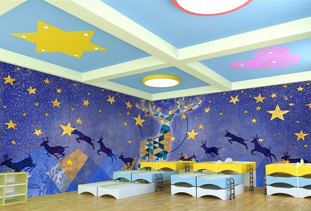 手绘水彩星空麋鹿儿童房背景墙图片
