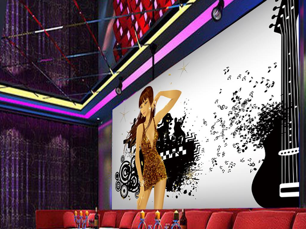 音乐ktv手绘美女酒吧工装背景墙