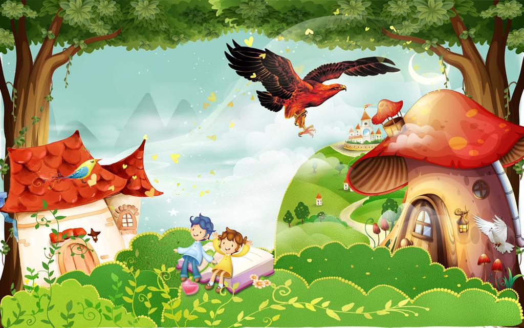 梦幻森林唯美森林卡通儿童房背景墙