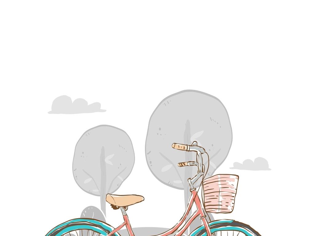 手绘自行车交通元素插画