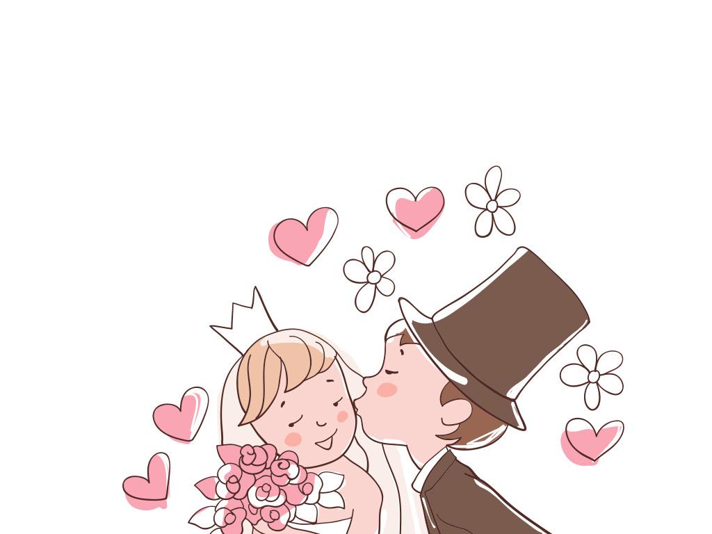 卡通新娘卡通新郎新娘素材新婚结婚情侣婚宴婚礼人物剪影手绘