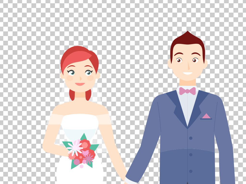 素材新婚结婚情侣婚宴婚礼人物剪影手绘新郎新娘我们结婚啦牵手新娘