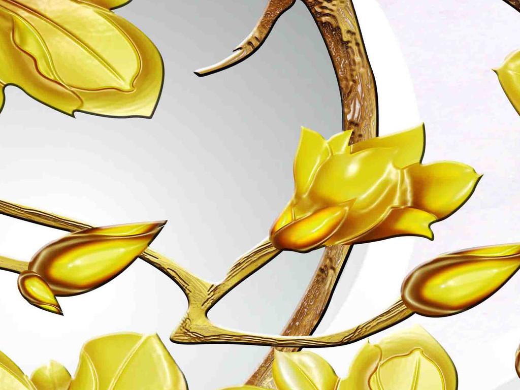 高清手绘金色玉兰花3d背景墙