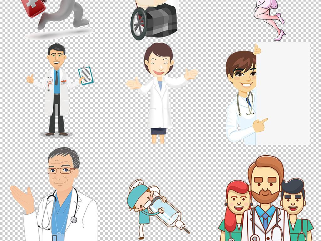 卡通医生护士                                  打针手绘医生