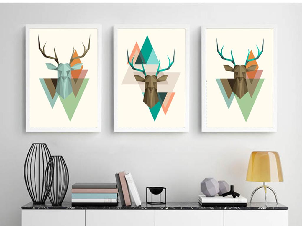 背景墙|装饰画 无框画 动物图案无框画 > 现代简约3d立体丽鹿图形三