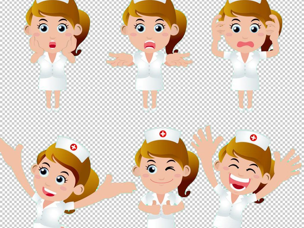 医院卡通美女护士手绘人物免扣矢量元素