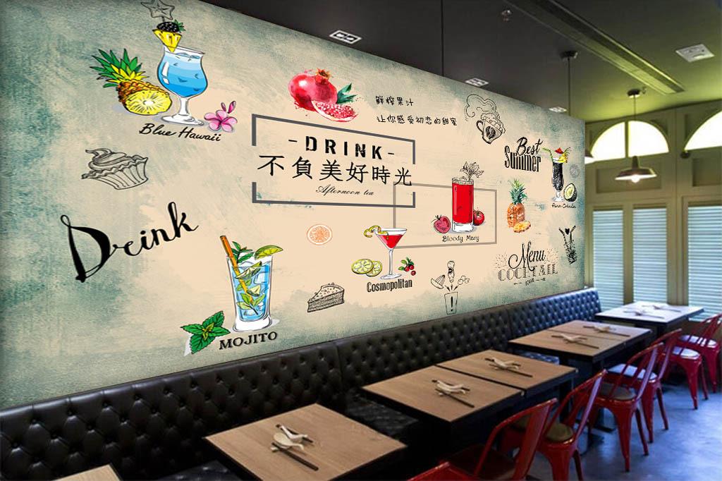 欧美手绘果汁冷饮店背景墙(3.5x2米)
