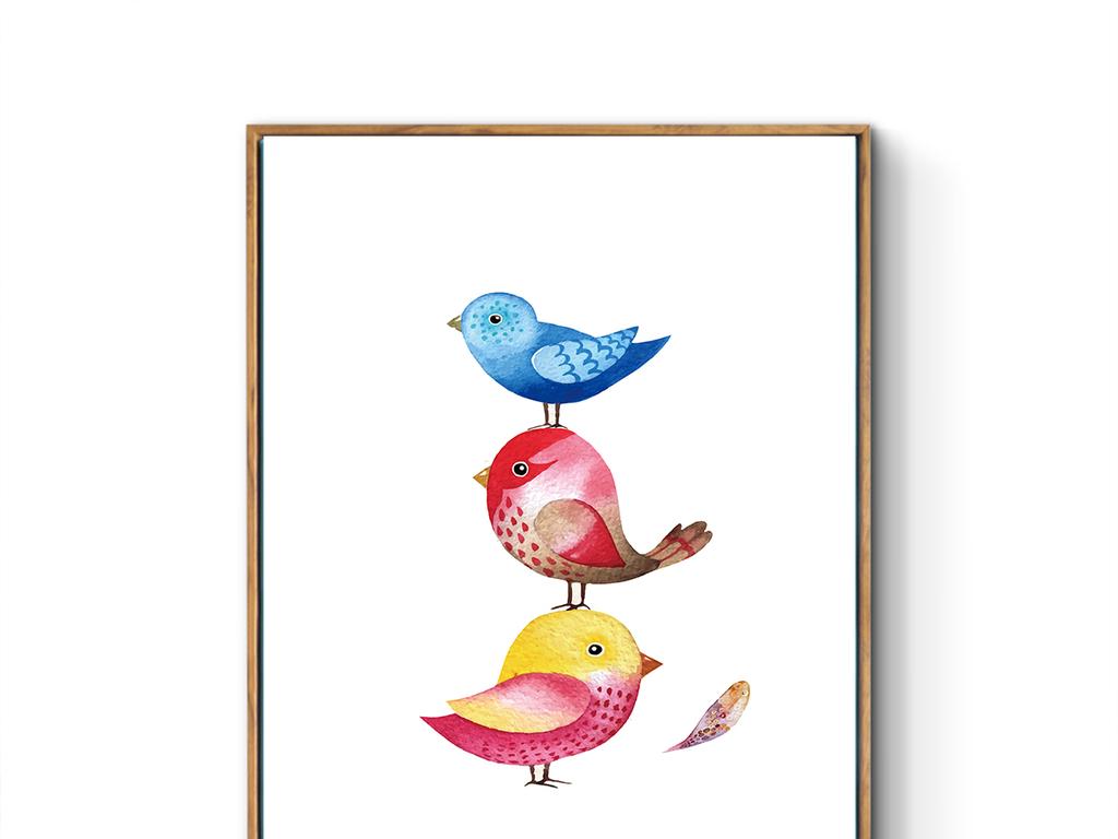 北欧小清新可爱小鸟羽毛装饰画(图片编号:16521552)图片