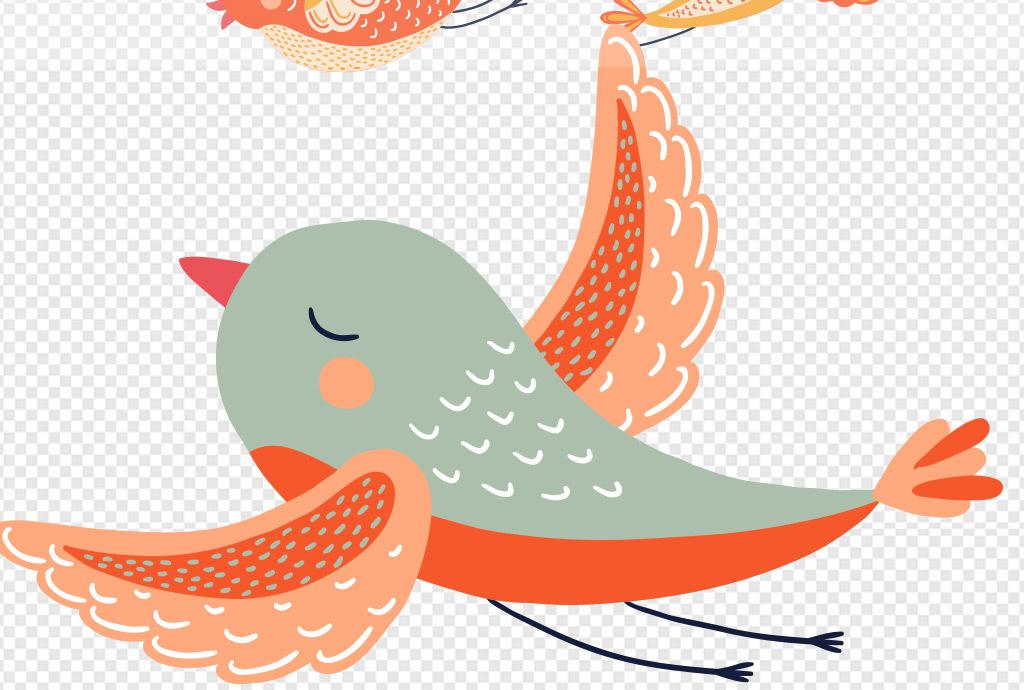 彩色鸟装饰画素材水彩花鸟花鸟手绘水彩手绘北欧美式淘宝素材卡通素材