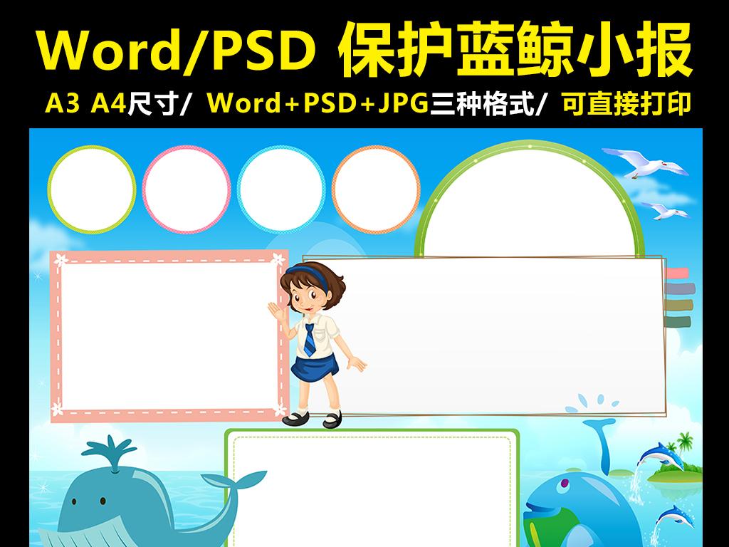 保护蓝鲸手抄报海洋动物电子小报word