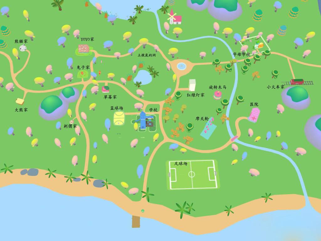 超q版卡通游乐场童话般的卡通森林游乐园场景