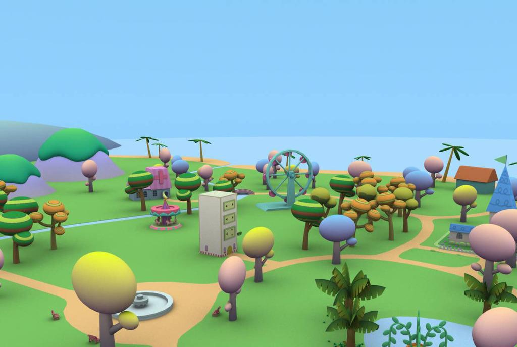 超q版卡通游乐场童话般的卡通森林游乐园场景图片