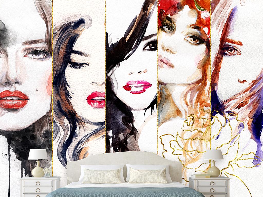 欧美时尚手绘美女美容化妆品背景墙
