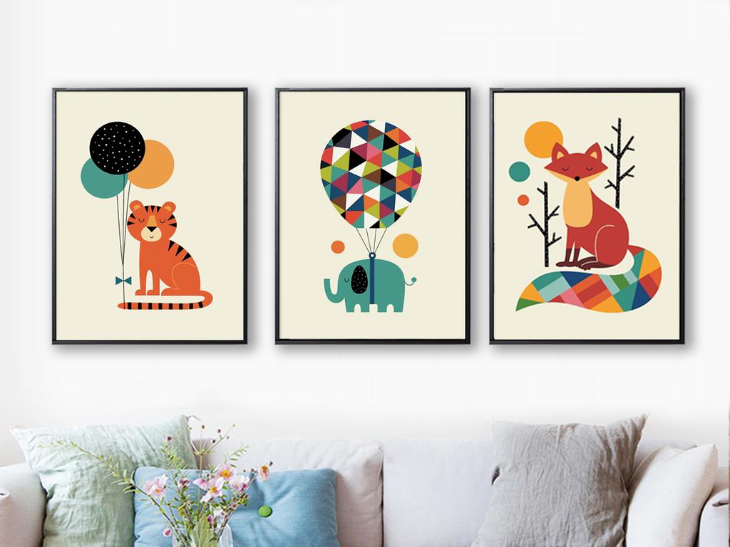 装饰画卡通动物装饰画卡通动物背景画儿童