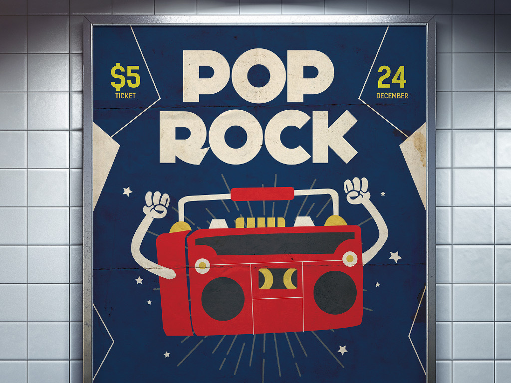 怀旧复古手绘流行摇滚音乐节宣传海报模板
