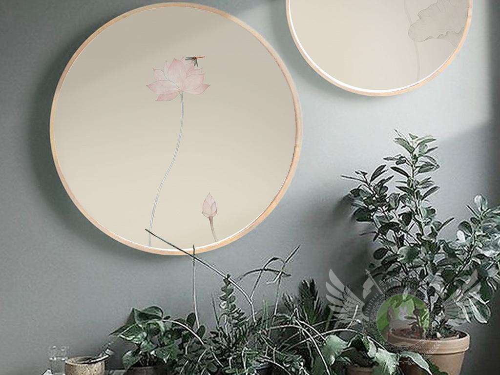 新中式荷花装饰画水墨禅意无框画图片