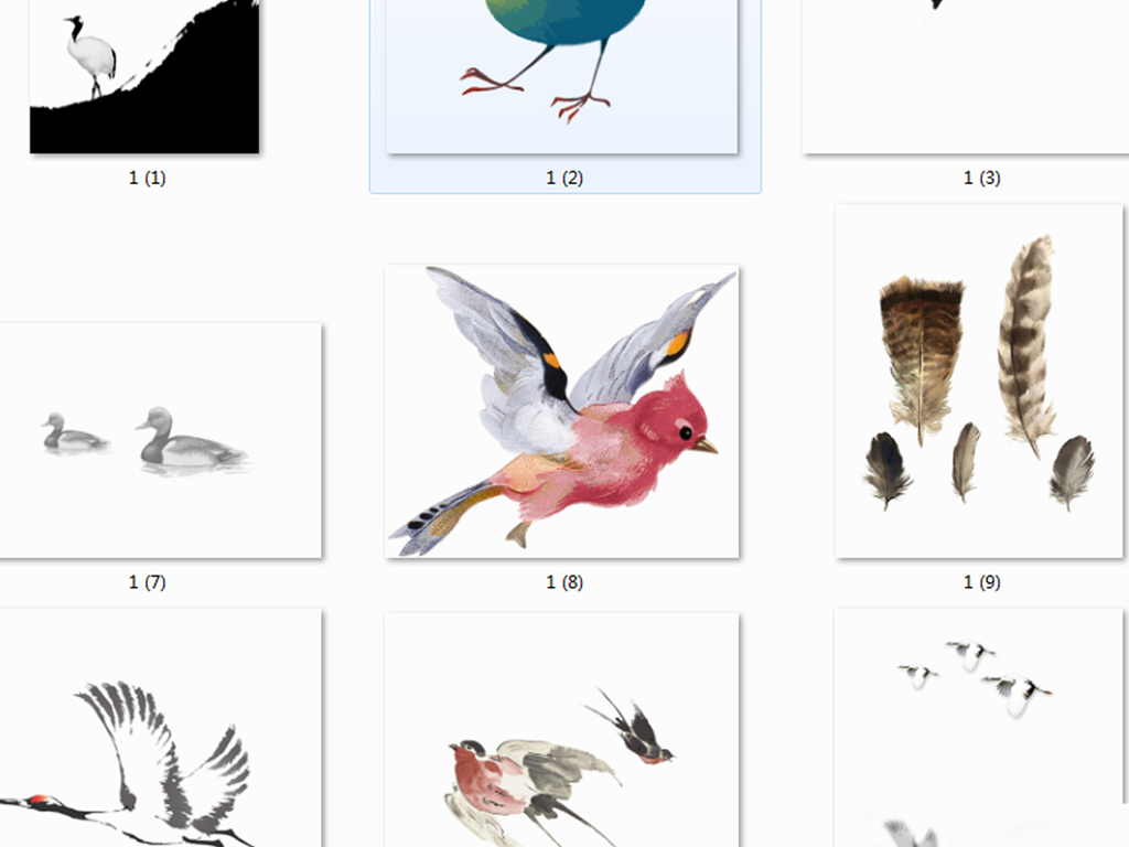手绘鸟水彩鸟水墨燕子中国风彩色鸟飞鸟素材水墨花鸟挂画喜鹊小鸟小鸟