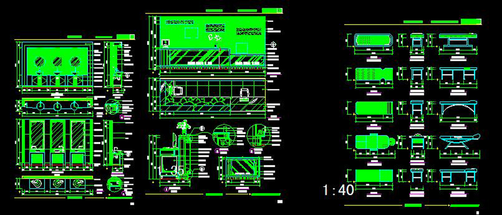 CAD美容健康中心器材前台立面平面设计图下载 0.02MB 工装施工
