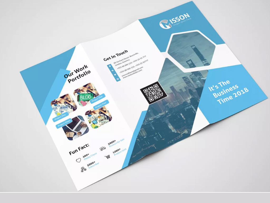 蓝色商务公司宣传单三折页设计产品宣传册模版图片