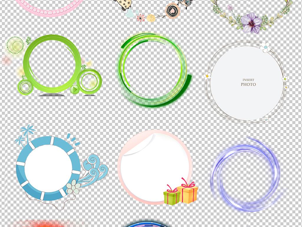 手绘边框圆形图案几何圆环水墨圆环彩色圆环圆圈背景卡通边框圆形素材